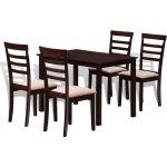 vidaXL Hnedo krémový kuchynský set z masívu - stôl a 4 stoličky