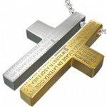 Oceľový prívesok pre dvoch - kríž, modlitba R3.13