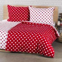 4Home bavlna obliečky Bodky červená 140x200 70x90