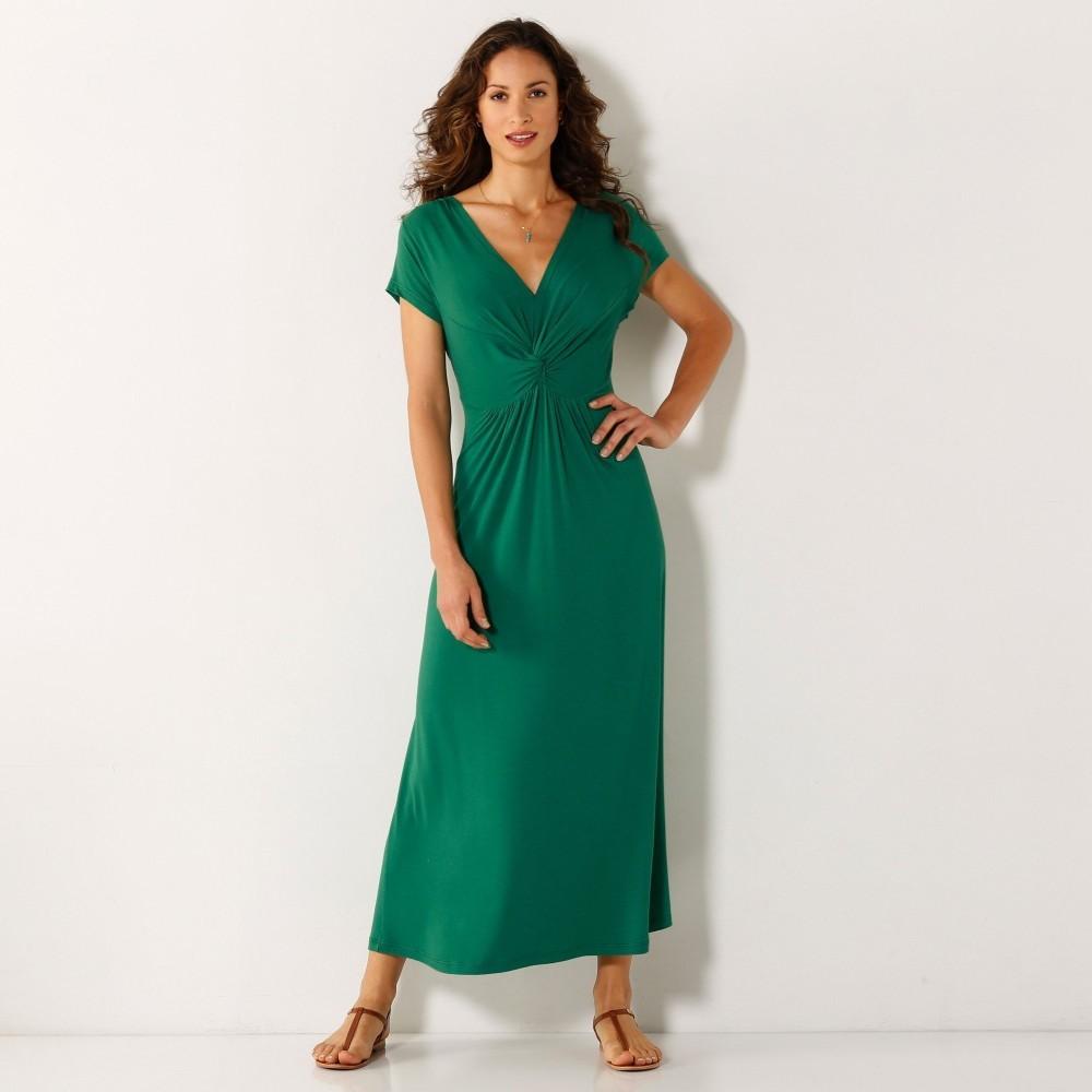 f2b3700f0ec1 Dámske šaty Blancheporte Dlhé šaty s krátkymi rukávmi zelená ...