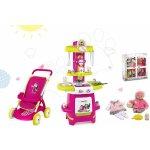 Smoby Set kuchynka Máša a medveď , športový kočík pre bábiku (58 cm rúčka) a bábika so šatôčkami