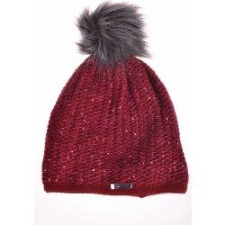 d784b4f4592f6 Dámska čiapka zatepletná pletená s trblietkami bordová alternatívy ...