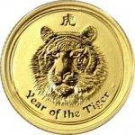 Zlatá investičná minca Year of the Tiger Rok Tygra Lunárny 1/10 Oz 2010