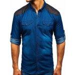 d82a4a462 Modrá pánska vzorovaná riflová košeľa s dlhými rukávmi Bolf 0517