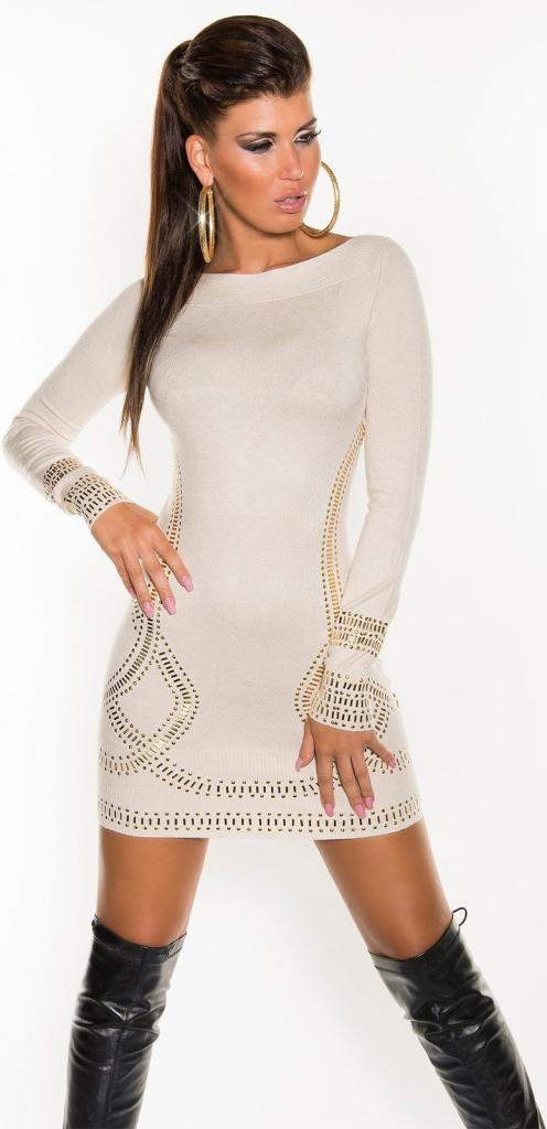 b3111207358a KouCla Dámske pletené šaty so zlatými aplikáciami Kim K. look Béžová  0000F071-k alternatívy - Heureka.sk
