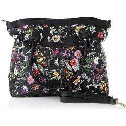 07b2814025 kvetovaná kabelka do ruky Lu Lucia s peňaženkou čierna alternatívy ...