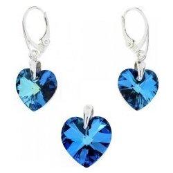 Recenzie NANETH Set srdiečka s kryštálmi Swarovski Elements Bermuda Blue  SET6228BB1418 - Heureka.sk 944754eb5c9