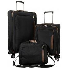 Cestovné kufre CARDIFF, 2 dielny set, L / S + príručná taška, čierne