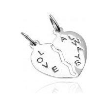 Šperky eshop Prívesok pre dvoch zo striebra 925 prelomené srdce s nápisom  Love Always O14. 1bcb878ec38