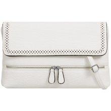 033d08f0ba listová kabelka s ozdobnými zipsmi K-T778 biela