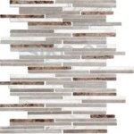 Premium Mosaic Stone Kamenná mozaika bielo-šedo-hnědé tehly 0,7x14 cm - STMOS7140MIX1