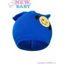 New Baby jesenná detská čiapočka smajlík modrá
