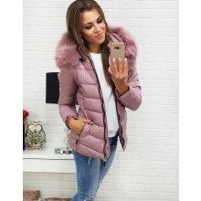 Dámska ružová prešívaná zimná bunda s kapucňou (ty0298) 5c9ce9c6887