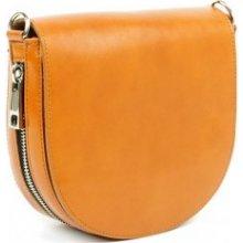 dámská kožená kabelka listonoška s ozdobným zipem 118 Camel f81b0917df8
