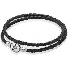 Pandora náramok černý kožený 590705CBK-D