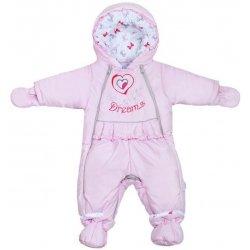 New Baby Zimná kombinéza Dreams s podšívkou s mašličkami ružová