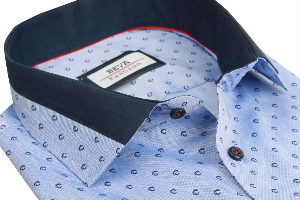 cebcc955793b Pánska košeľa Pánska modrá biznis košeľa dlhý rukáv BEVA KLASIK ...