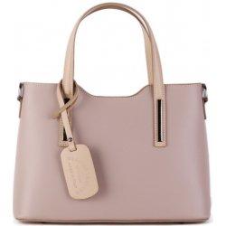 bf97324949 talianske casual kožené kabelky do ruky stredné luxusné Carina ružová s  karamelovou