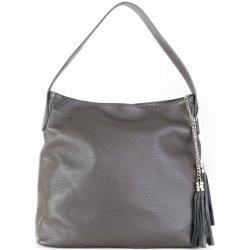 talianska kožené kabelky cez plece talianska Fabiola sivá od 63 c0676b68b67