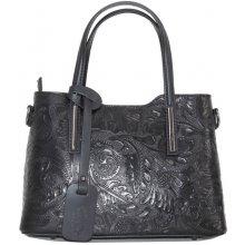2a5bbab5ab3bb Talianske stredné casual kožené kabelky cez plece čierne luxusné Carina  kvetmi