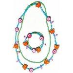 Woody Souprava dvojitý náhrdelník a náramek Motýlci a květiny