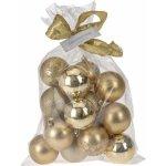 Vianočné gule Candy 16 ks, zlatá, 16 x 6 cm