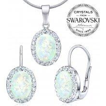 Silvego náušnice a přívěsek se Swarovski Crystals a bílým opálem B36063w