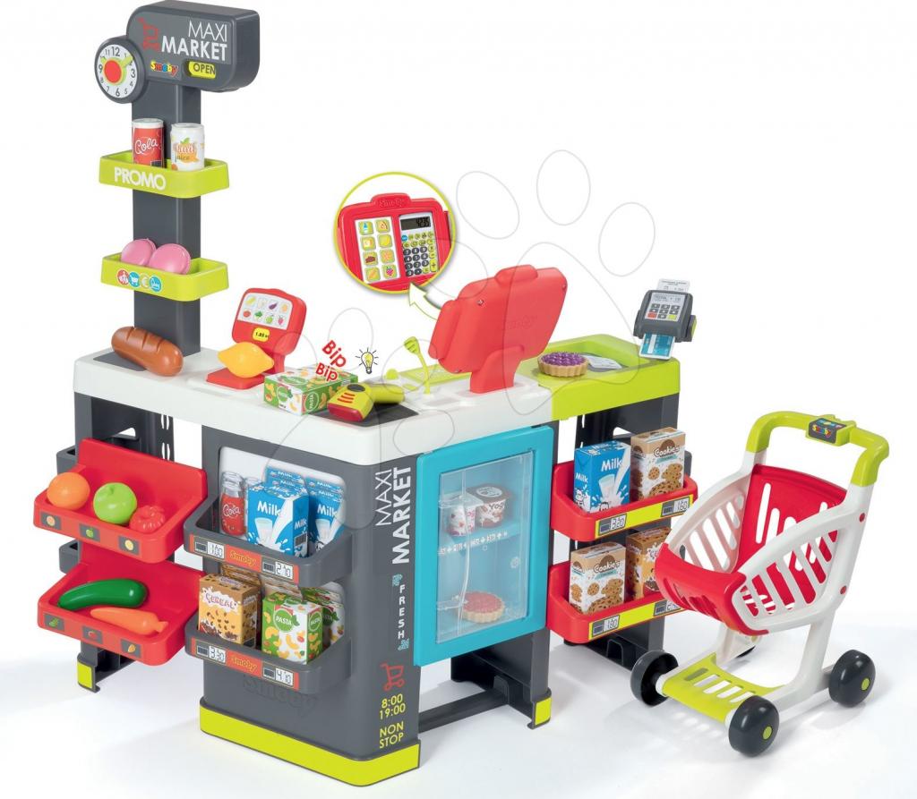 d51cf36c78fe Smoby obchod zmiešaný tovar Maxi Market s chladničkou elektronickou  pokladňou a skenerom s 50 doplnkami 350215