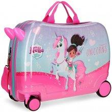 822f18c27f282 JOUMMABAGS Detský kufrík Princezná Nella a jednorožec lila MAXI ABS plast,  50x38x20 cm 34 l