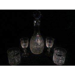 SKLO-KRIŠTÁL, Poprad, Set na víno a whiskey z ručne brúseného krištáľu