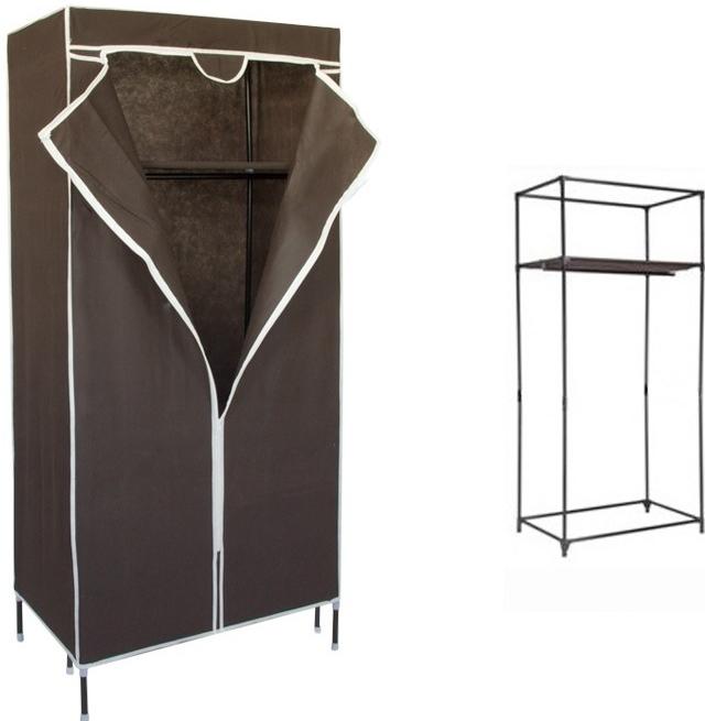 183388760980 P.R.C. Textilná prenosná skriňa na oblečenie - šatník 155 x 72 x 43 cm -  hnedá
