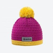 2df71da39 Kama detská pletená merino čiapka B71 Reflexné Ružová
