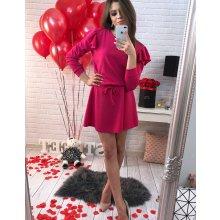 829e8b50ee96 Dámske ružové šaty s volánmi na ramenách (ey0220)