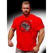 Bizon Gym Triko Červené s Barevným Potiskem