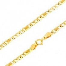 Šperky eshop Retiazka v žltom zlate, tri oválne očká a jedno dlhšie s mriežkou GG69.32