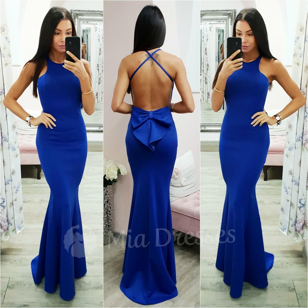 1457b54d5070 Modré spoločenské šaty s mašľou od 29