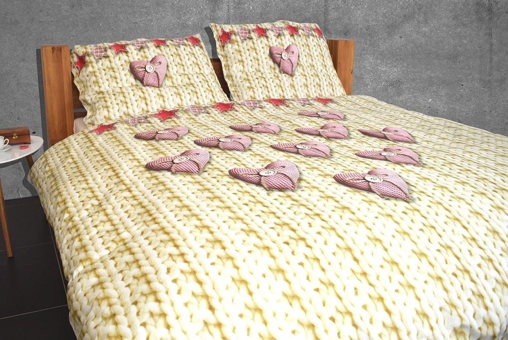 29fea76e6 Gipetex Natural Dream 3D obliečky bavlna Srdiečka digitálna tlač 200x220  70x90