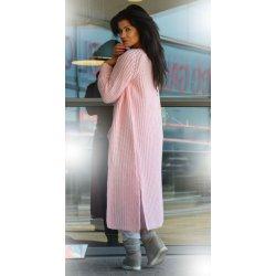Fashionweek Luxusné nezvyčajné pletené dlhé svetre kabát MAXI SV06 Farba   Ružový 3b8eaf3619e