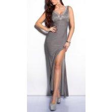 KouCla dámske spoločenské šaty dlhé s čipkou a kameňmi šedá
