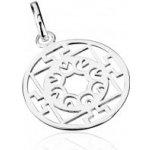 Šperky eshop Strieborný prívesok 925 kruh s kvetmi a T-vzorom AB5.15 e45b890ecd1