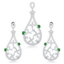 d179f7703 Šperky eshop Set prívesku a náušníc, striebro kontúra slzy, zelené zirkóny,  číre kvety