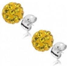 e81a6ec3d Šperky eshop náušnice Shamballa, oceľová puzetka, gulička, žiarivo žlté  zirkóny SP38.05