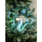 Snehové LED guľa 8 cm strieborná 5 ks