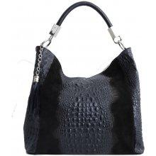 36460e83fe1af Talianska shopperka kožená kabelka veľká na plece a do ruky čierna Alessa