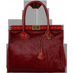 kožené kabelky Laureta Rossa Cocco Pelliccia