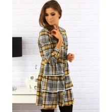 85e2c07e23cc Dámske kárované šaty ey0136 Grey Yellow