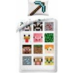 Halantex Obliečky Minecraft biele Bavlna 140x200 70x90
