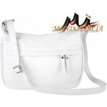 Made In Italy kožená kabelka na rameno 392 biela 401a3324e6d