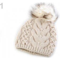 3240d9374 Zimná pletená čiapka s brmbolcom bežova biela 1ks od 8,03 € - Heureka.sk