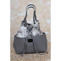 Pabia kabelka vzor kvety šedá ekokoža